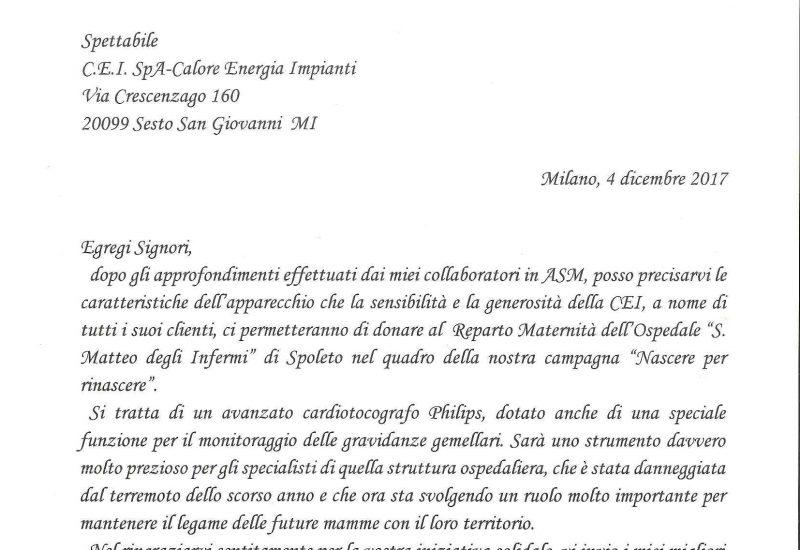 Donazione al Reparto Maternità dell'Ospedale di Spoleto   CEI GROUP  ceigroup.it